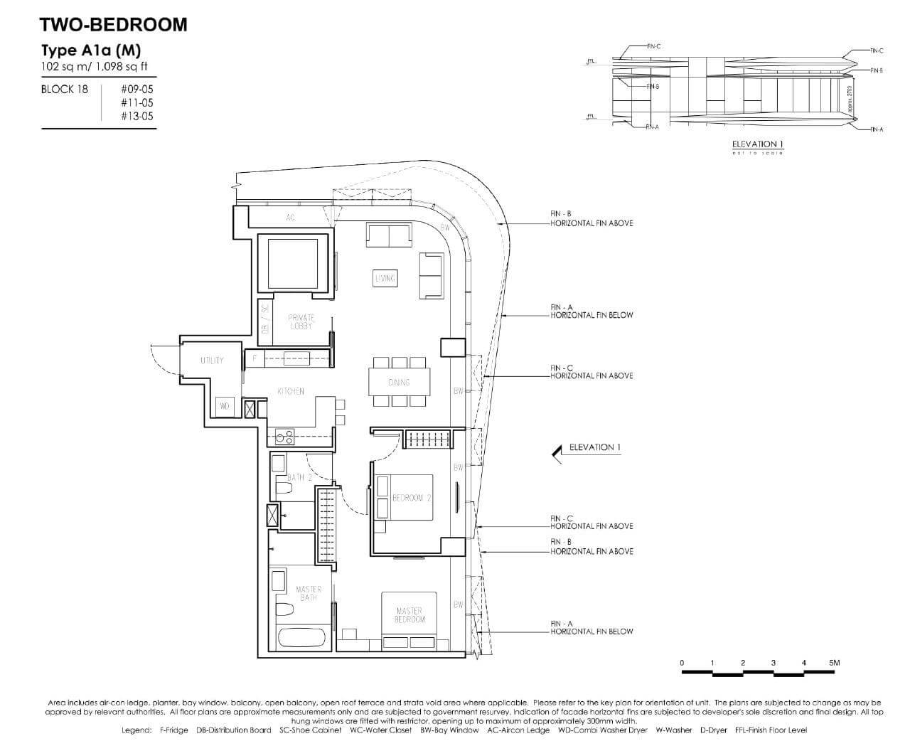 New Futura - Floor Plans - 2 Bedroom - Type A1a